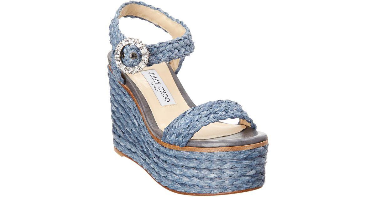 7a5b32b4837cd Lyst - Jimmy Choo Nylah 100 Crystal Buckle Raffia Sandal in Blue