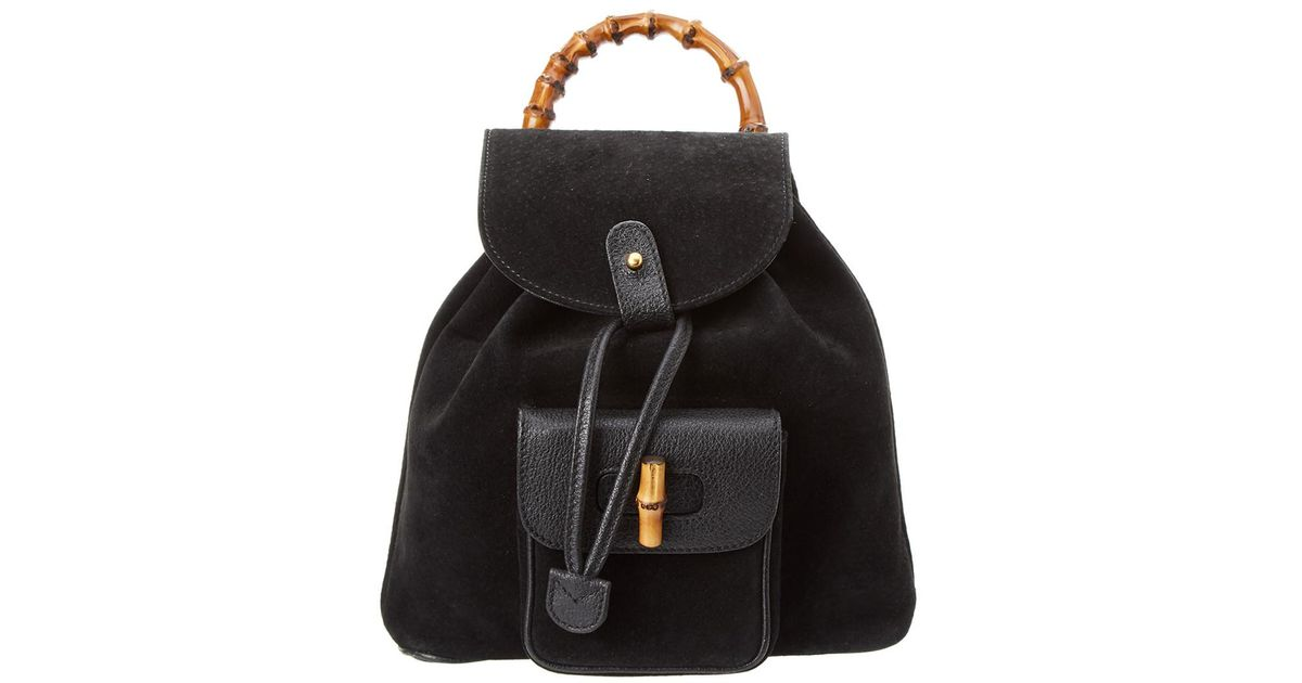 5cc8934a6bc Lyst - Gucci Black Suede   Leather Bamboo Backpack in Black