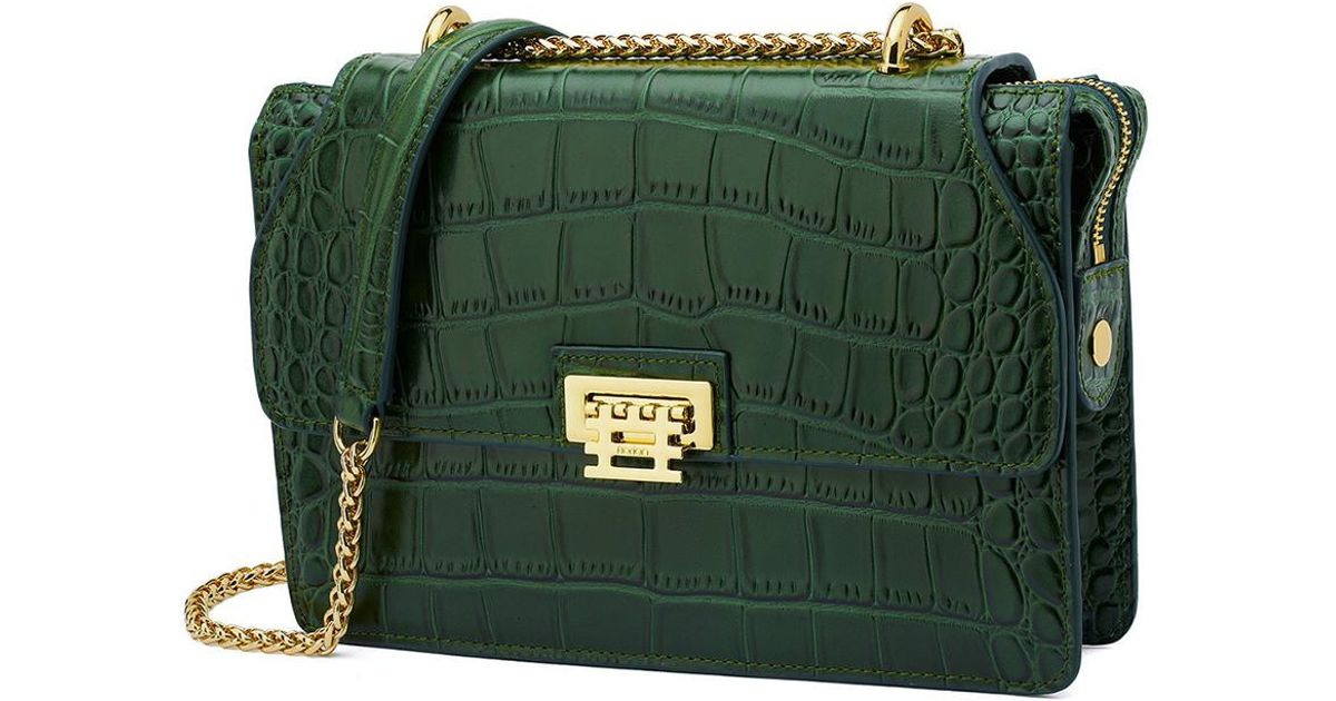 Lyst - Florian London Mini Vienna Croc-embossed Leather Crossbody in Green 1388bf0857a19