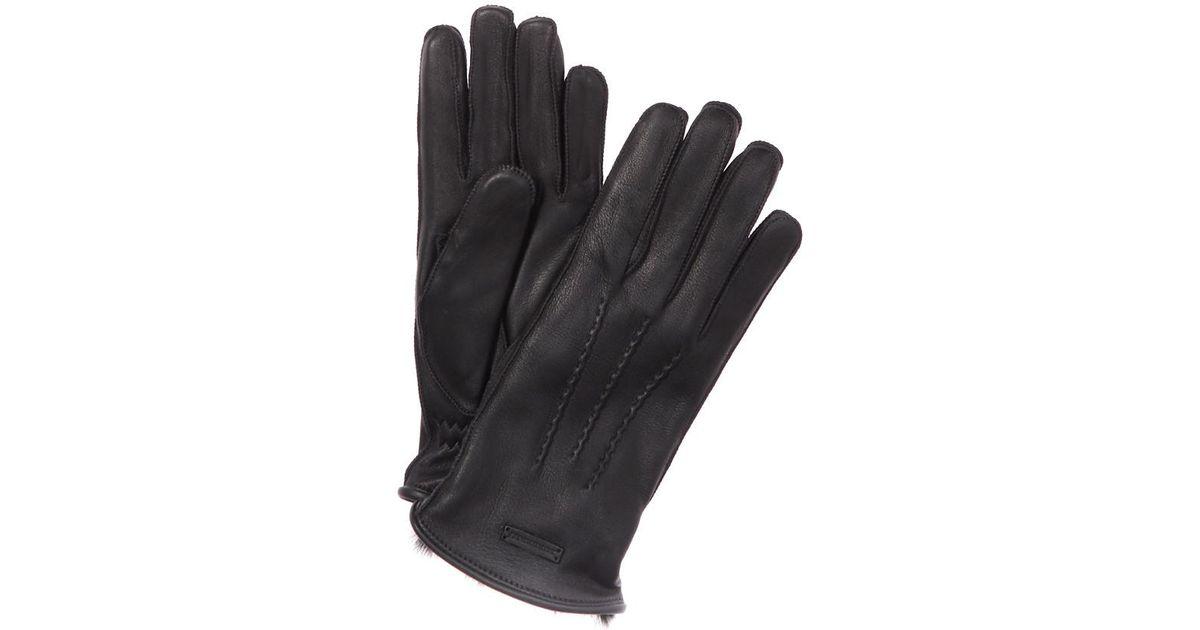 Burberry Fur Lined Deerskin Gloves in Black for Men | Lyst