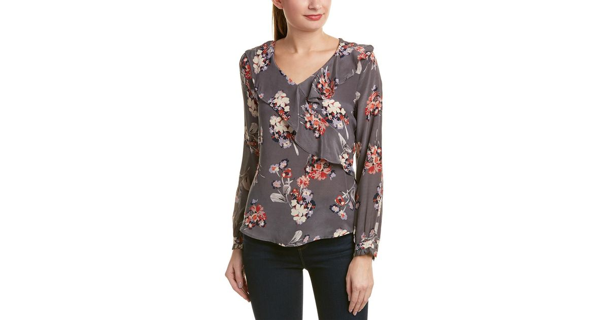 1cd0bcb03f101 Lyst - Tolani Leona Silk Top in Gray