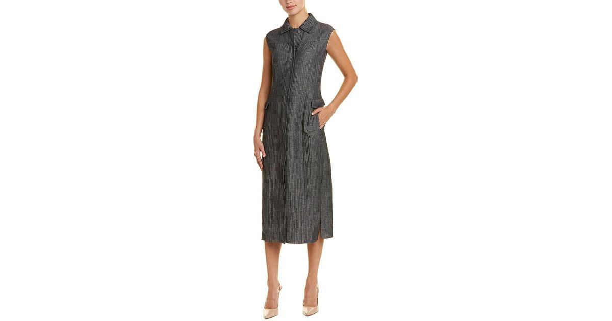 1e30d612c7 Lyst - Akris Wool   Linen-blend Shirtdress in Black