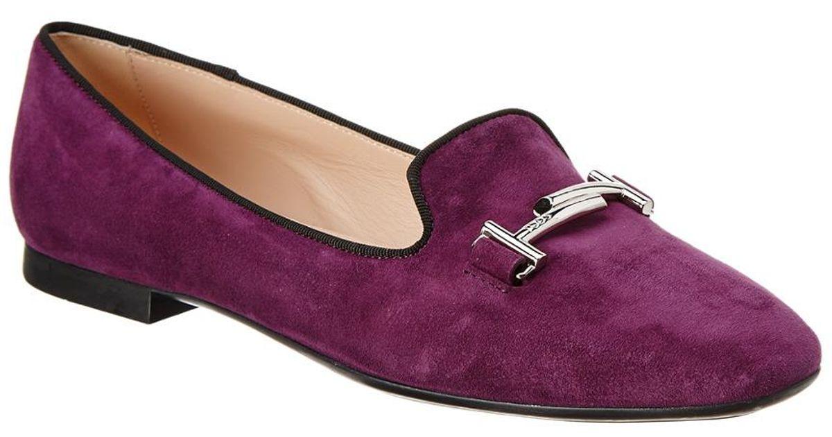 bfc39d89f7d Lyst - Tod s Double T Suede Slipper in Purple