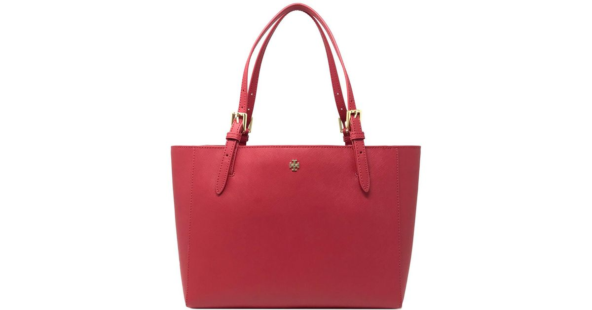 0f951560768a Lyst - Tory Burch Emerson Small Leather Buckle Tote in Red