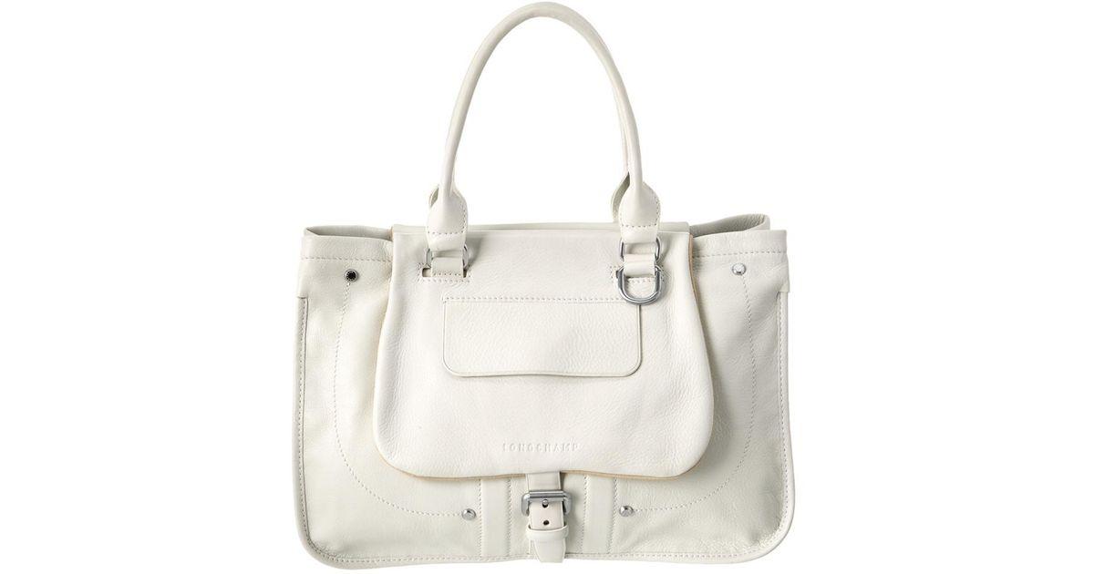 8b50f11965c Lyst - Longchamp Balzane Leather Shoulder Bag in White