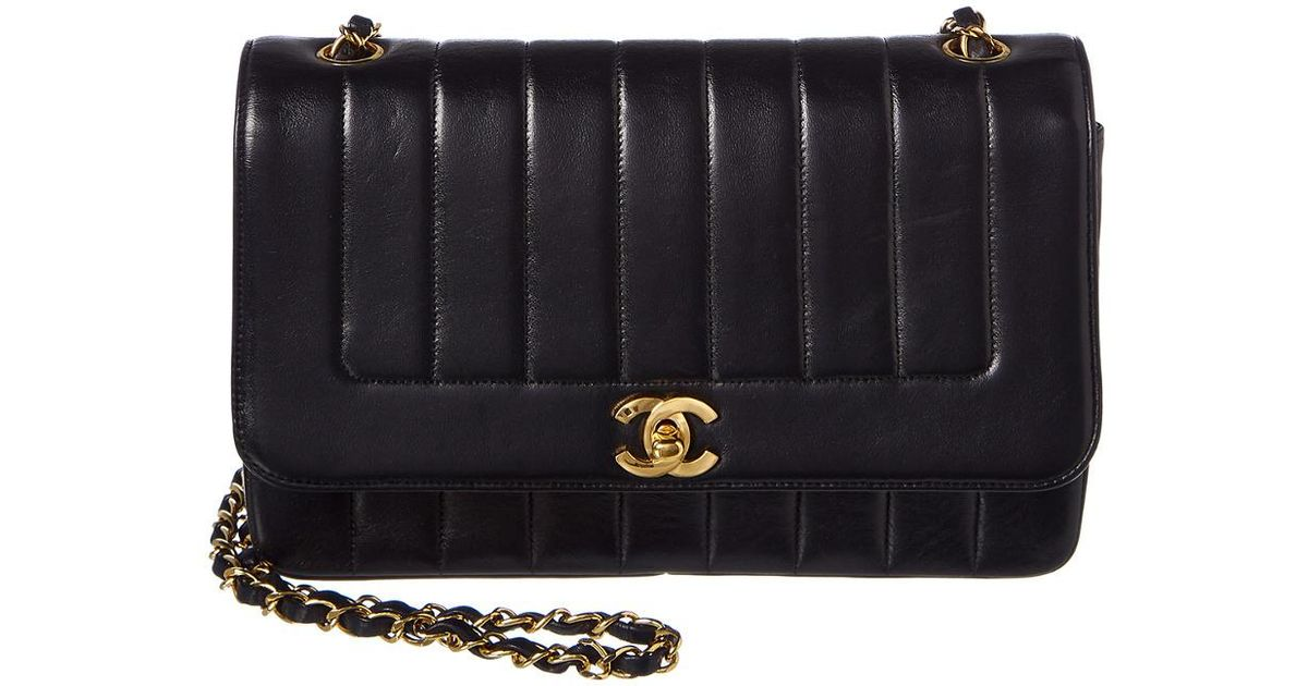 f725a1f764cb Chanel Black Lambskin Leather Medium Vertical Flap Bag in Black - Lyst