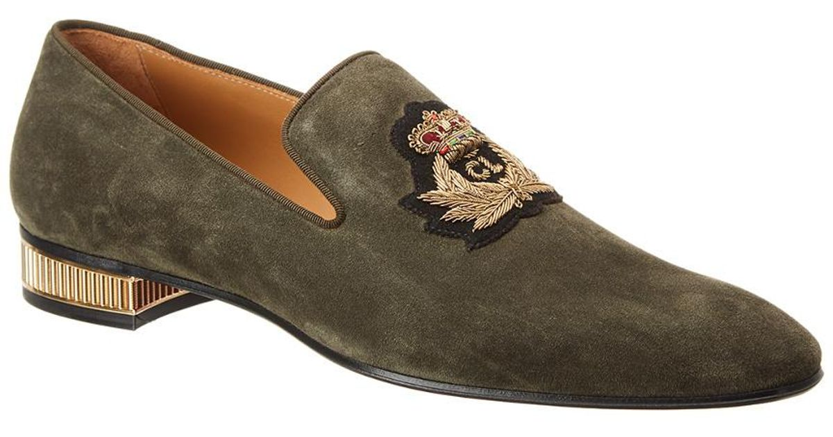 cf4fea11b4a Lyst - Christian Louboutin Colonnaki Veau Velours Suede Loafer in Green for  Men