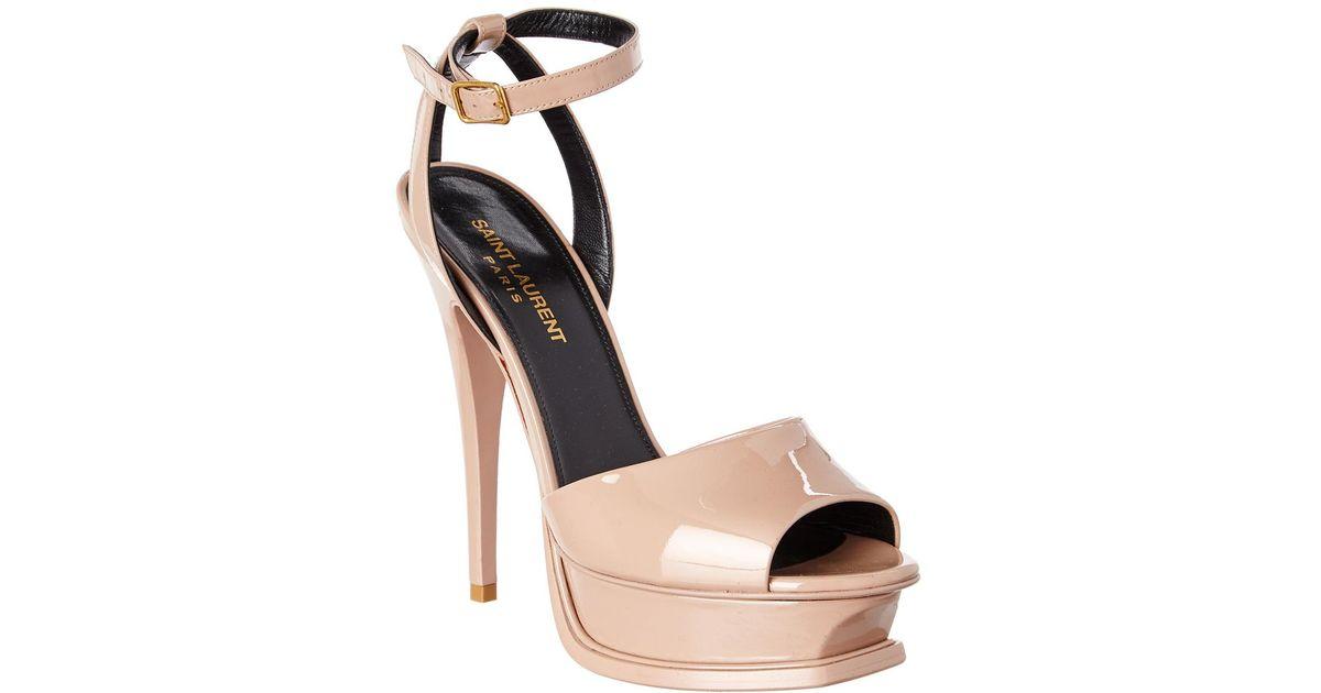 464c4b89eeba1 Lyst - Saint Laurent Tribute 105 Peep-toe Patent Sandal in Natural
