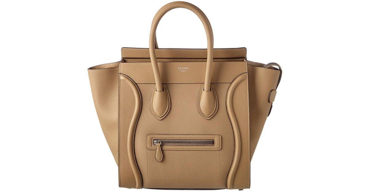 aa62746cf6b8 Lyst - Céline Mini Leather Luggage Tote in Natural