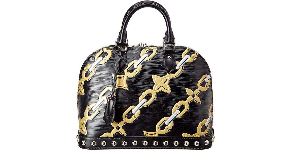 33324586c31a Lyst - Louis Vuitton Limited Edition Black Chain Flower Epi Leather Alma Pm  in Black