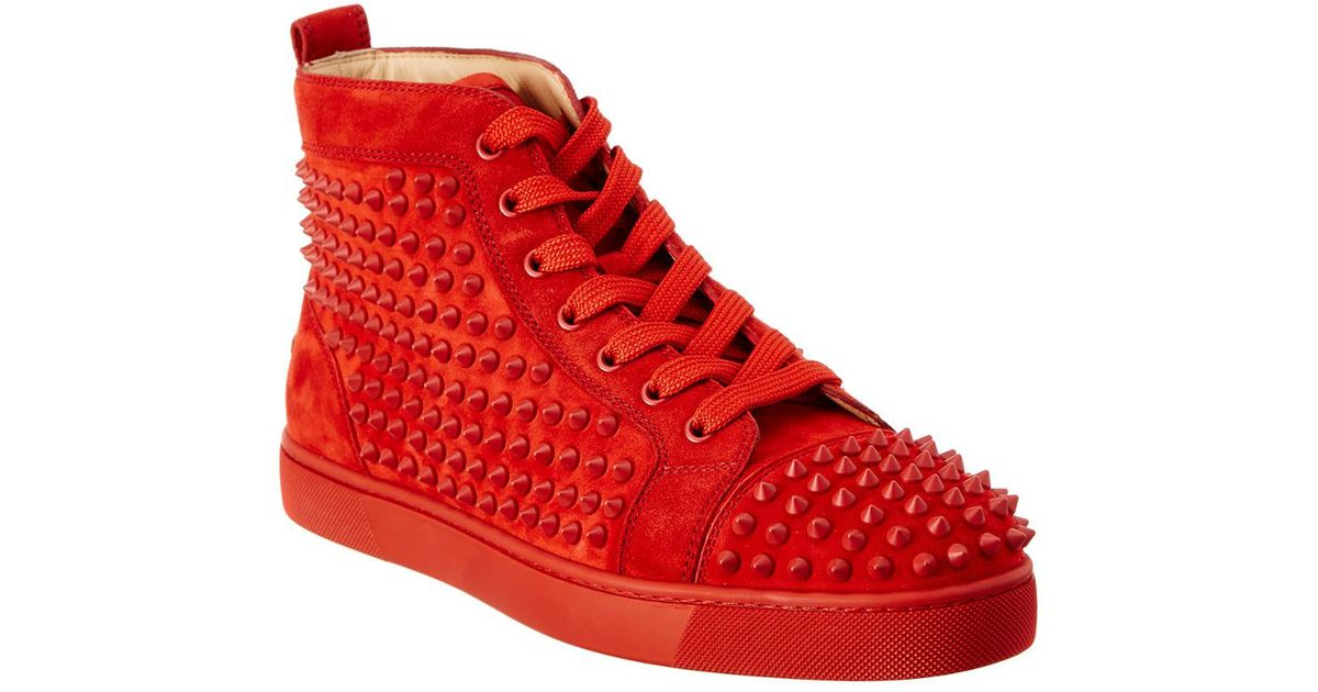 Lyst - Christian Louboutin Louis Spike Suede High Top Sneaker in Red for Men ad3f33f7f
