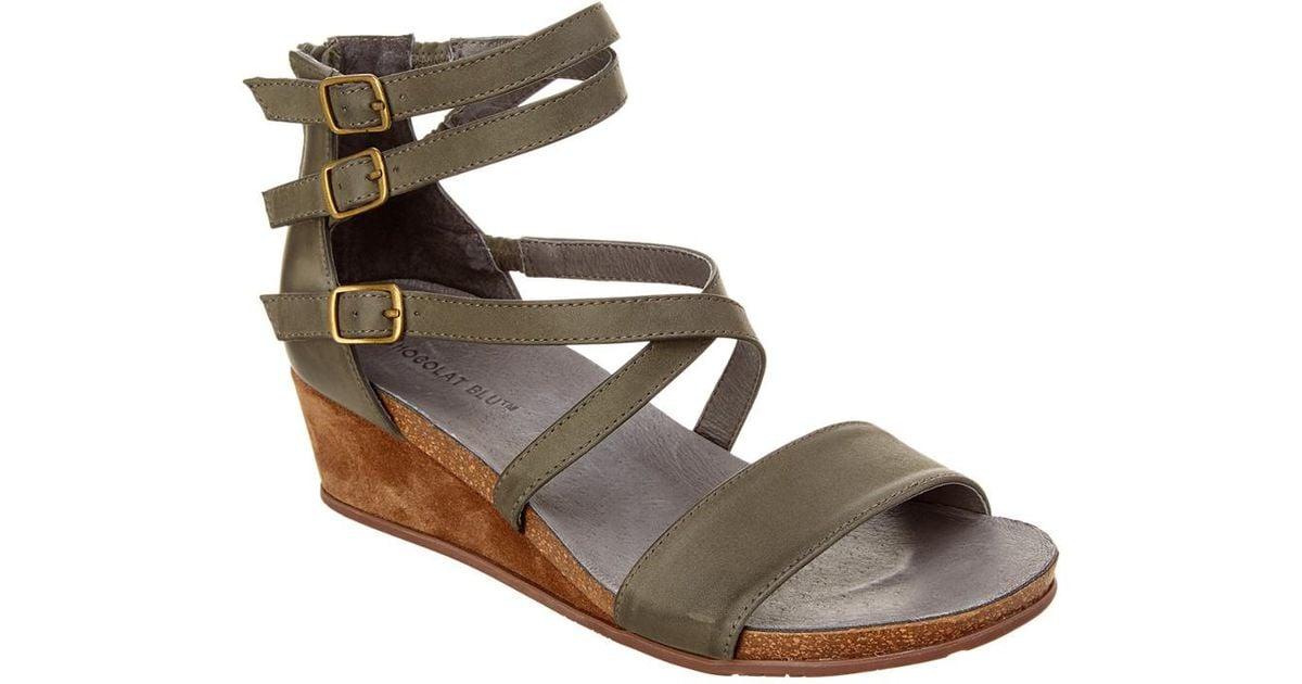 7e7175963809 Lyst - Chocolat Blu Tatum Leather Wedge Sandal in Gray