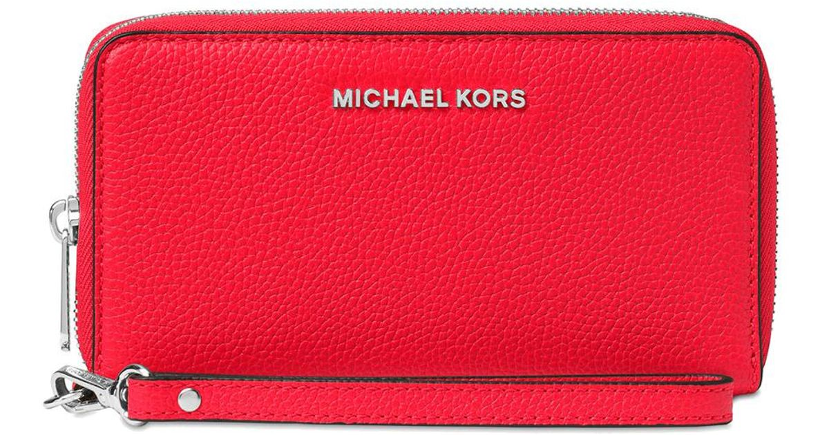 ed3c3c2a2185a5 Lyst - MICHAEL Michael Kors Mercer Large Flat Multi Function Phone Case in  Red