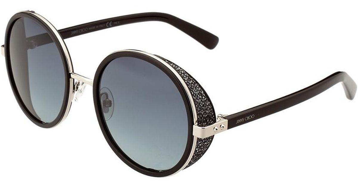 6a1eccf3670 Jimmy Choo Andie Crystal 54mm Sunglasses in Black - Lyst