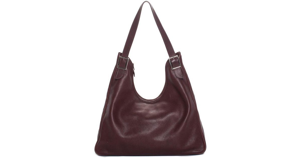 020972fe2d65 Lyst - Hermès Dark Maroon Leather Massai Cut 40 Shoulder Bag