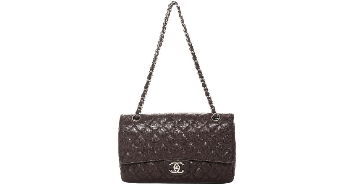 fa32613d4cc3 Chanel Dark Brown Quilted Caviar Leather Medium Double Flap Bag in Brown -  Lyst