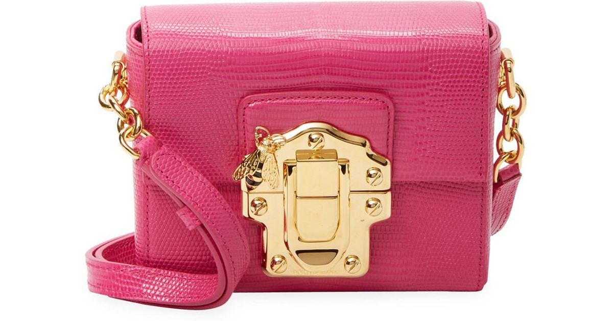 8efca0dcbf3 Lyst - Dolce   Gabbana Mini Lucia Embossed Leather Crossbody in Pink