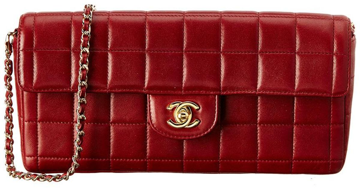 b76cf7646f776b Chanel Burgundy Chocolate Bar Quilted Lambskin Leather East West Shoulder  Bag in Red - Lyst