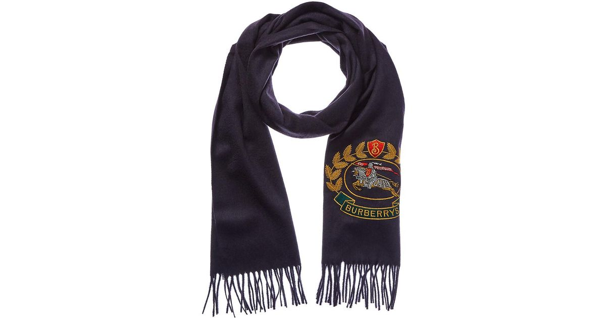 Burberry Archive Logo Classic Cashmere Scarf in Blue for Men - Lyst a4dc648485