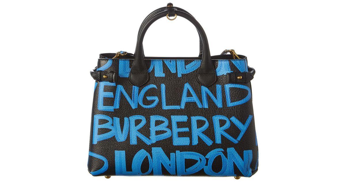 386e71e298a2 Burberry Banner Medium Graffiti Leather Tote in Black - Lyst