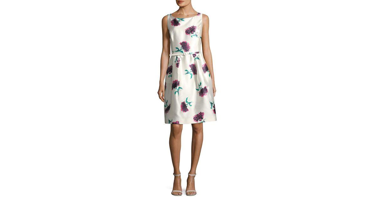 d11daddcdf0 Oscar de la Renta Floral Silk Dress in White - Lyst