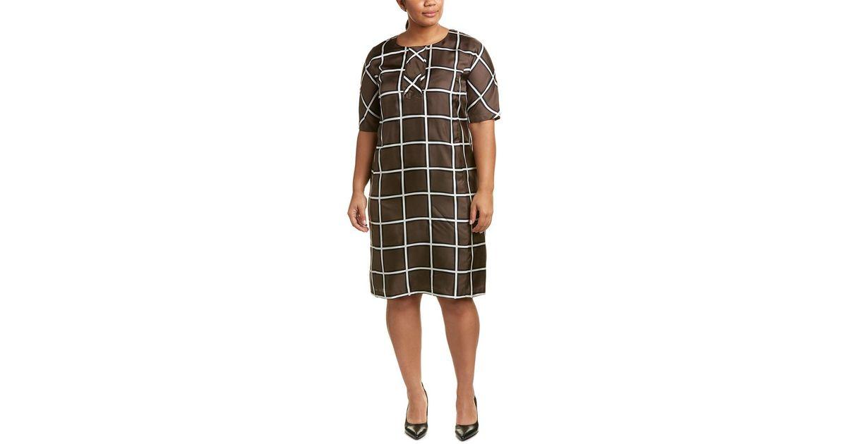 1f07c192fc7 Marina Rinaldi Plus Decaedro Silk Shift Dress in Green - Lyst