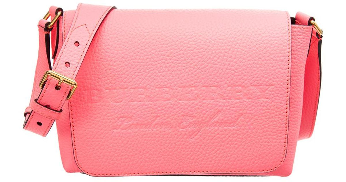 b6156480f7c Burberry Small Burleigh Leather Crossbody in Pink - Lyst