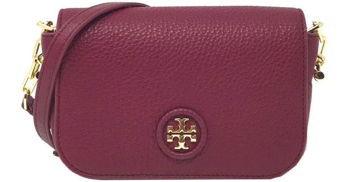 38b9bd79509b5 Lyst - Tory Burch Whipstitch Leather Logo Mini Bag in Red