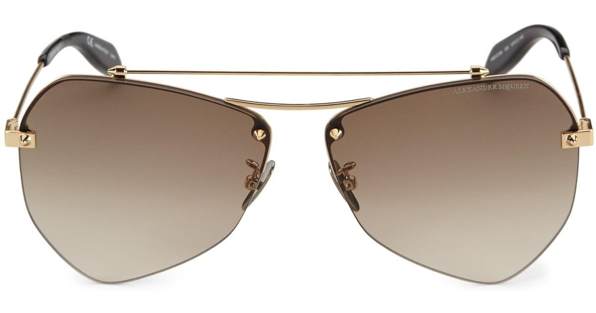 8b9cf56e8241 Lyst - Alexander McQueen Men s 55mm Aviator Sunglasses - Endura Gold in  Metallic for Men