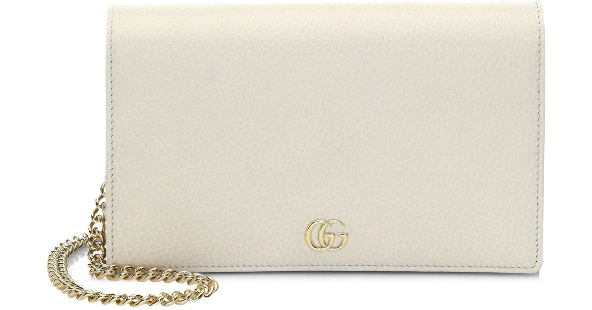 4c531ed7c93 Lyst - Gucci Women s Petite Marmont Wallet On Chain - Black in White