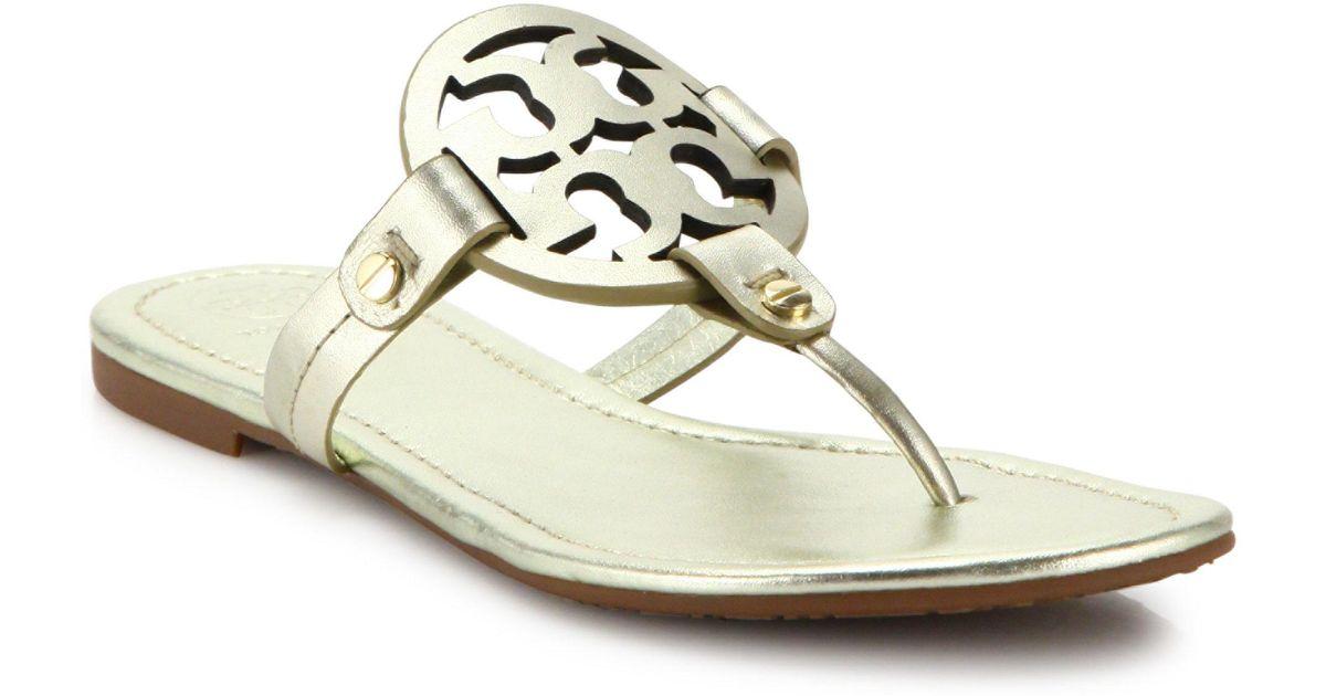 8b1b30876ab2a5 Lyst - Tory Burch Miller Leather Logo Sandal in Metallic - Save 15%