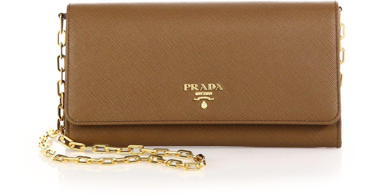 b4d5258e6a58 Prada Saffiano Leather Chain Wallet in Brown - Lyst