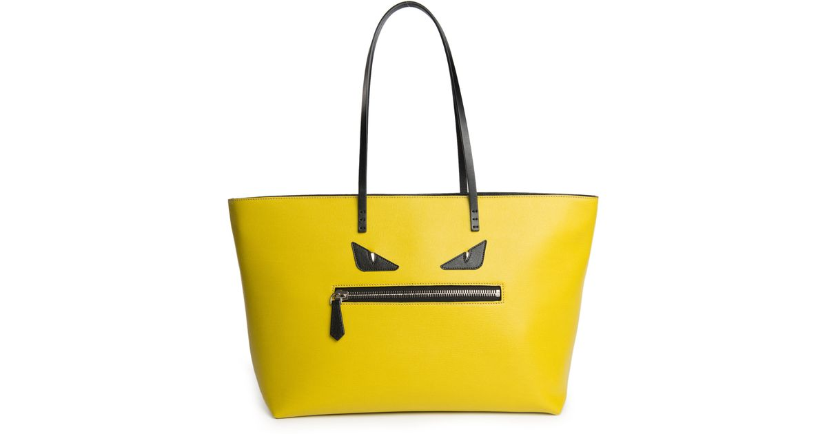 Lyst - Fendi Monster Leather Roll Bag in Yellow ea246ece01d3c