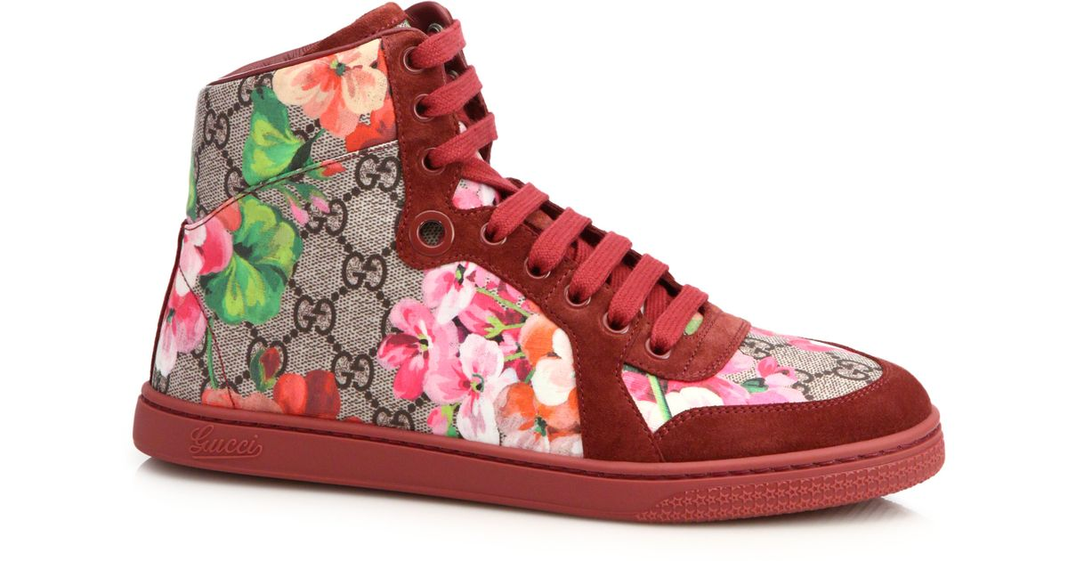 325edbcc143 Lyst - Gucci Marine Floral-print Canvas   Suede Sneakers for Men