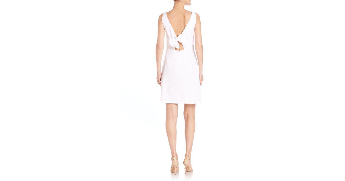 641870862a Lyst - Theory Jozzla Poplin Open-back Dress in White