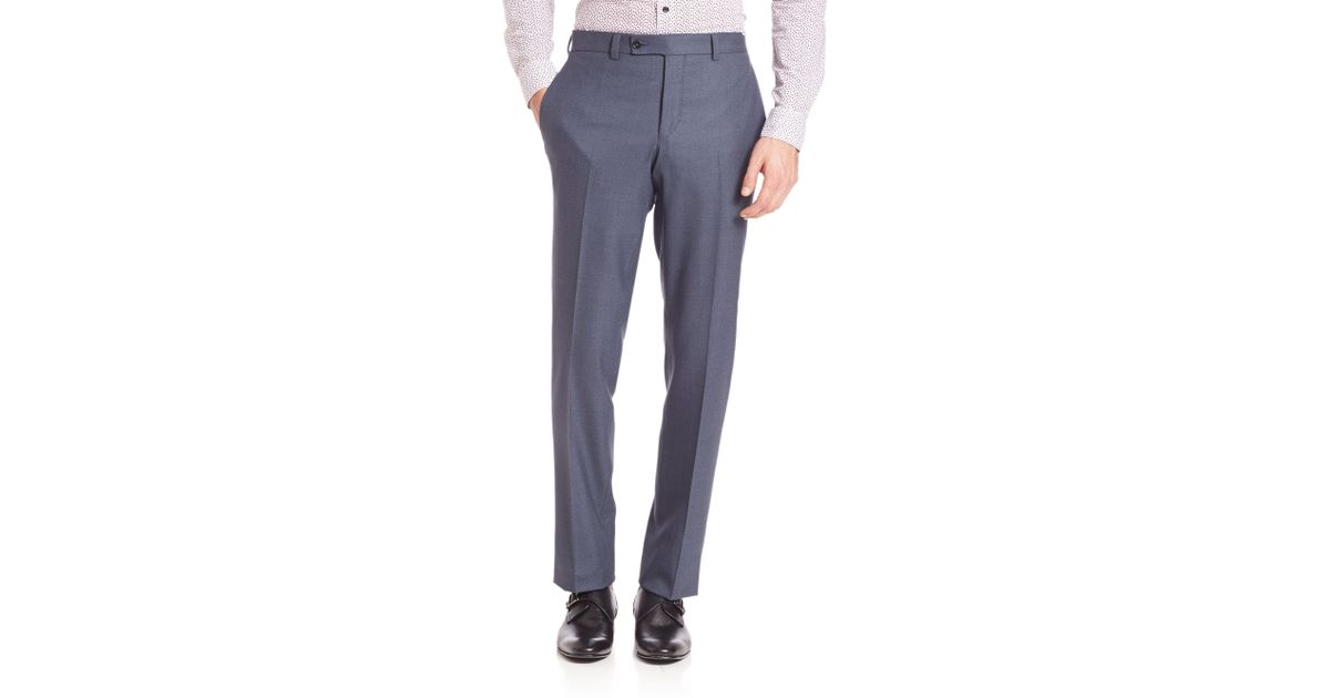 Saks fifth avenue ford modern fit dress pants in blue for men lyst