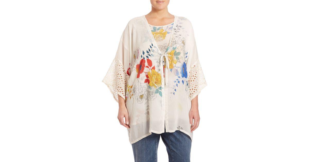 4e11c668359 Lyst - Johnny Was Eyelet Floral Kimono in White