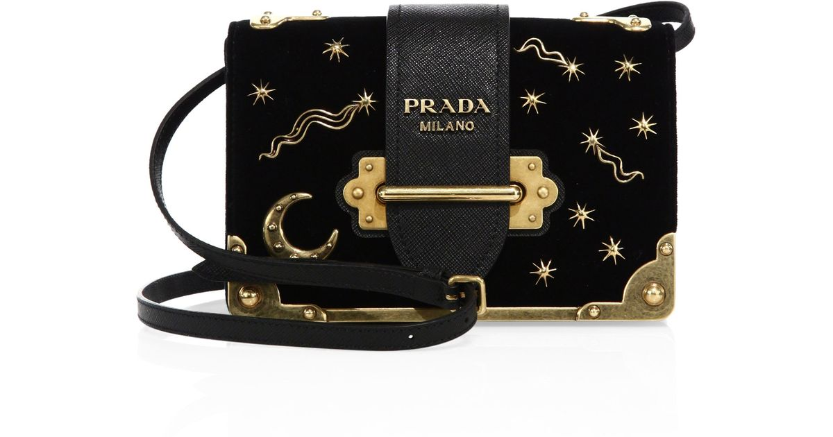 b6ea0f51d3e6 4f174 b16ca  cheap lyst prada small velvet astrology cahier bag in black  4b305 601d4