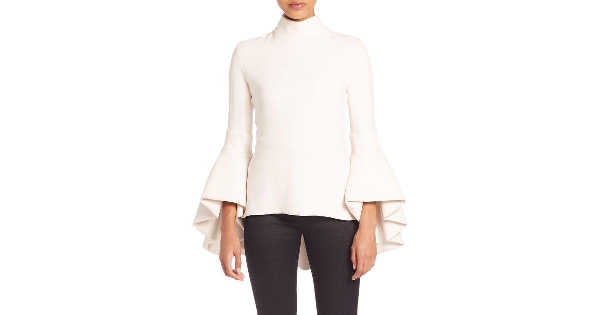 brandon maxwell bell sleeve top in white lyst