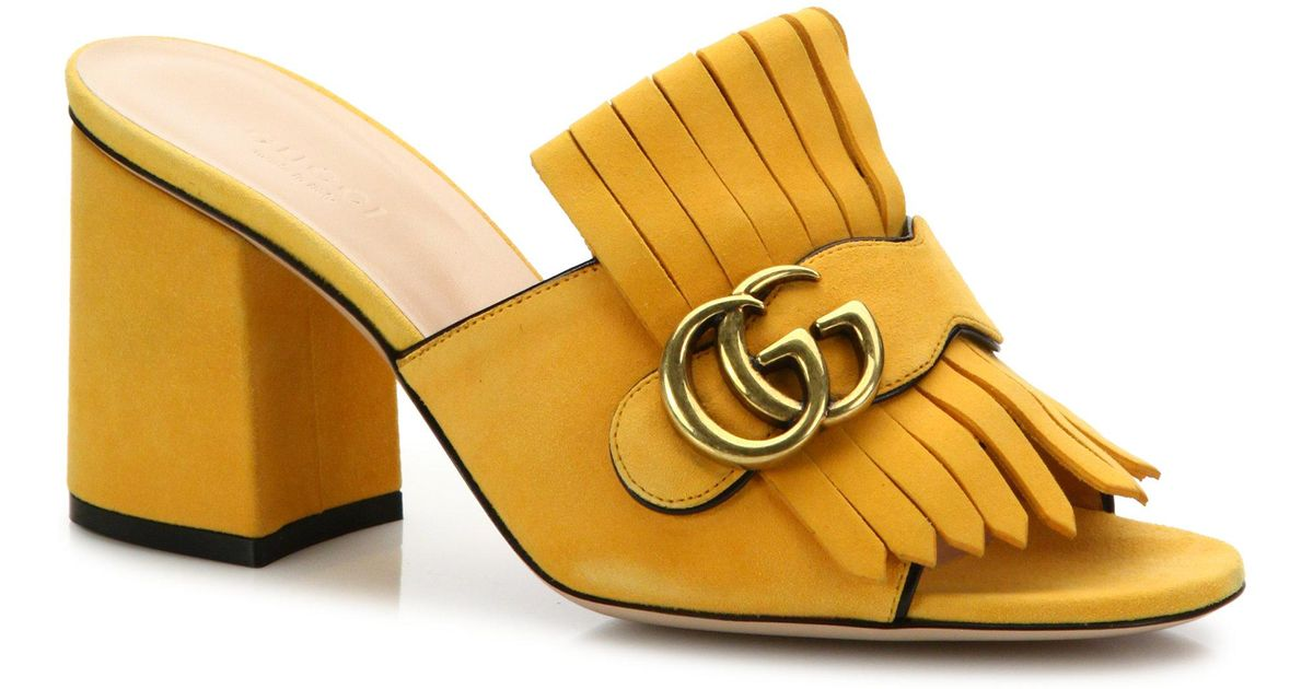 9b3b7478a Gucci Marmont Kiltie Suede Block Heel Mules in Yellow - Lyst