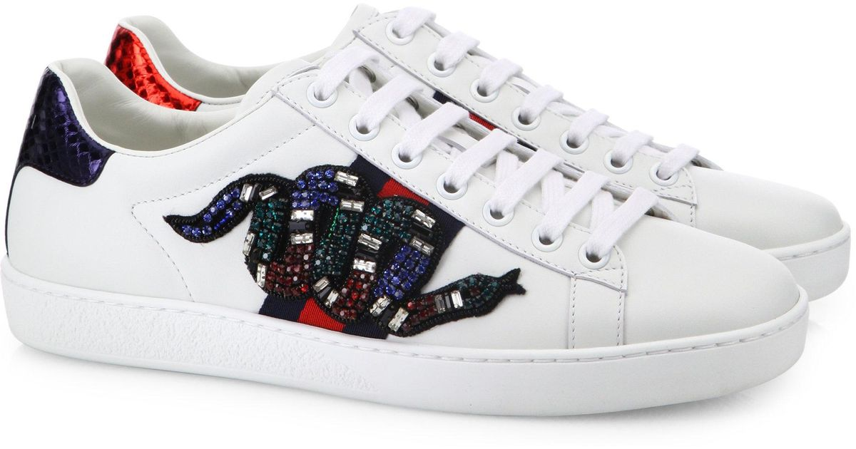Lyst - Gucci New Ace Crystal-embroidered Snake Leather Low-top Sneakers 8a7b1822144a