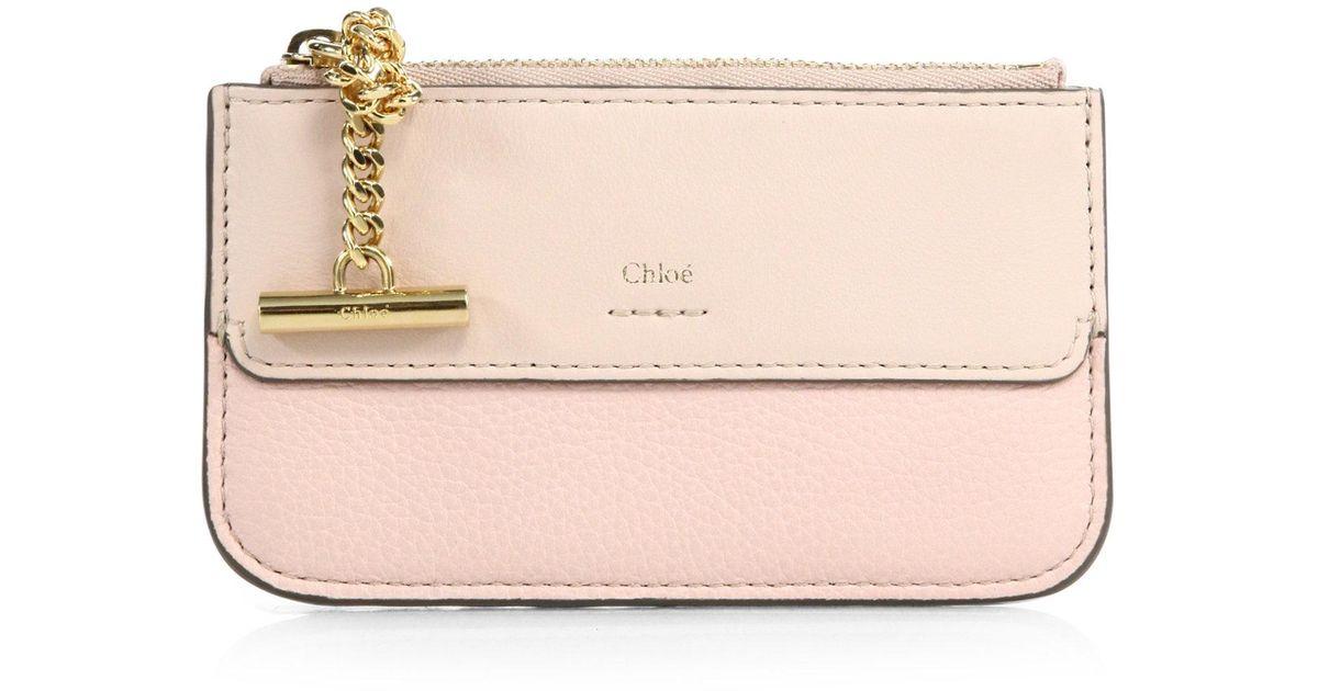 lyst chlo joe calfskin leather card holder in pink - Chloe Card Holder