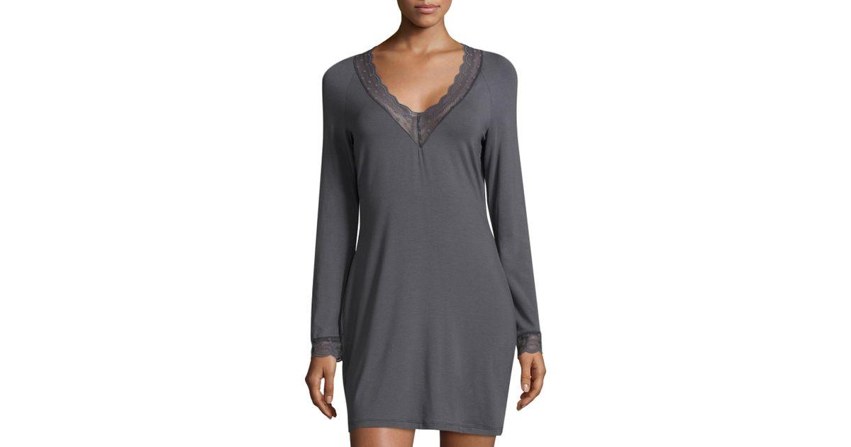c4a482b3b0 Lyst - Cosabella Sweet Dreams Long Sleeve Sleep Dress in Gray