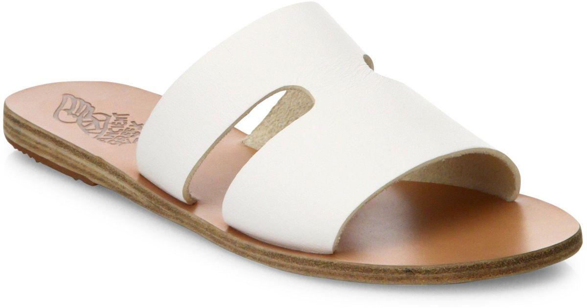 396334955d4 Ancient Greek Sandals - White Apteros Cutout Leather Slides - Lyst