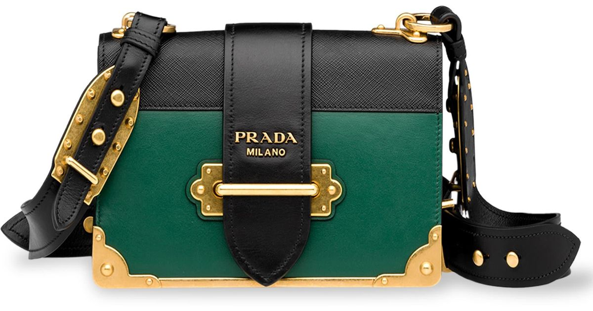0dceb9ad2e ... reduced lyst prada studded cahier leather crossbody bag in black f3a22  f413d