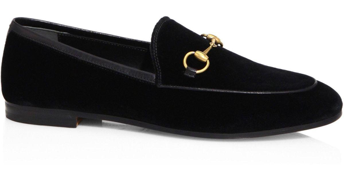 03bd4d572f8 Gucci New Jordaan Velvet Loafers in Black - Save 11% - Lyst