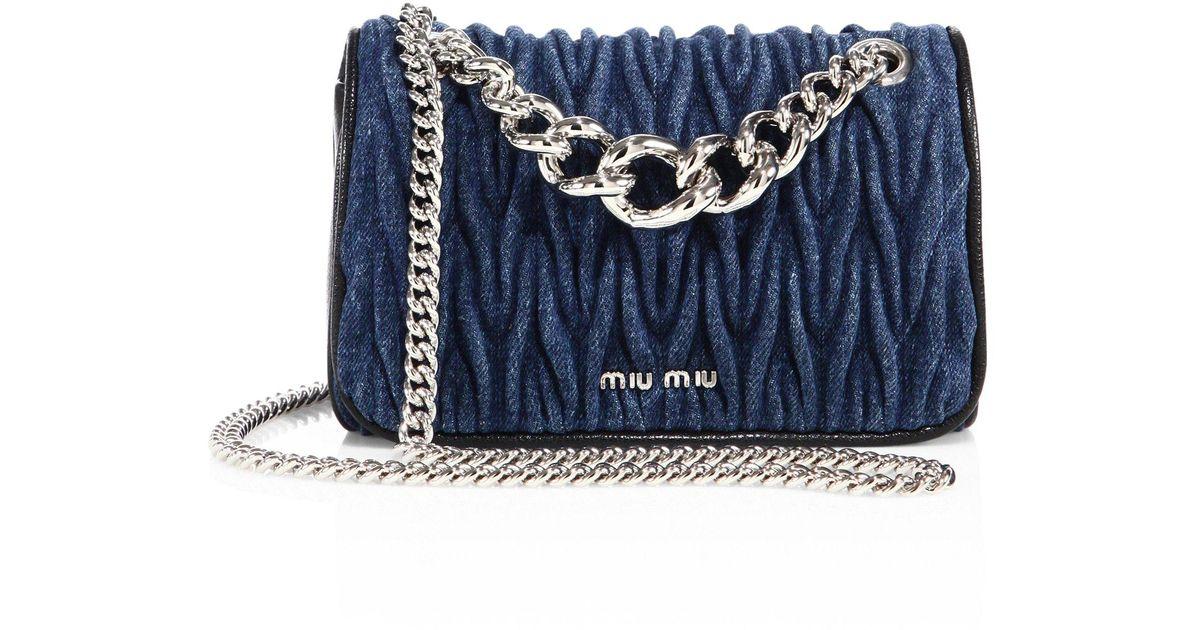 5094eb28bbc0 Miu Miu Club Matelasse Denim Chain Shoulder Bag in Blue - Lyst