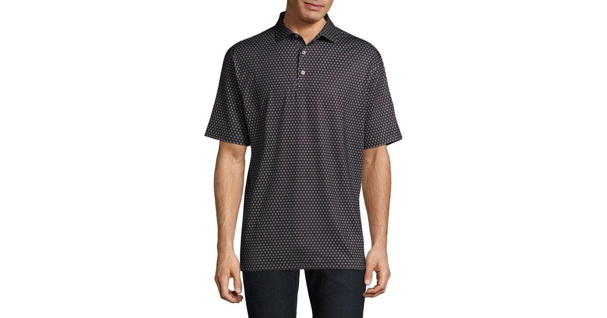 Lyst peter millar classic printed polo shirt in black for Peter millar polo shirts
