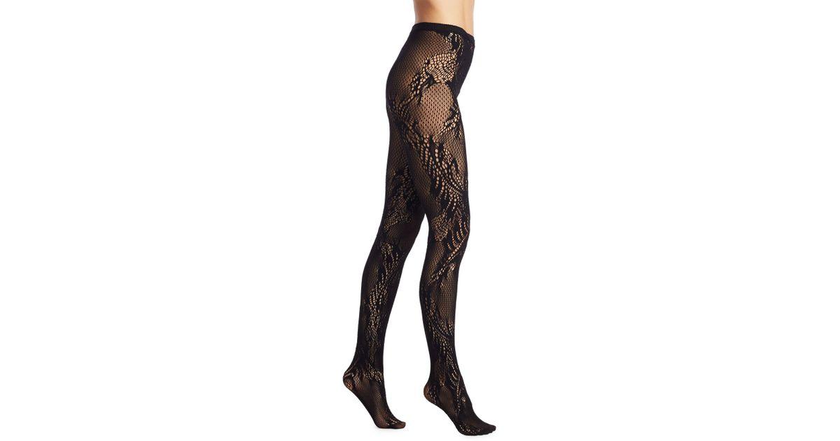 7c35b4924819b Natori Women's Feather Lace Net Tights - Black - Size Medium in Black - Lyst