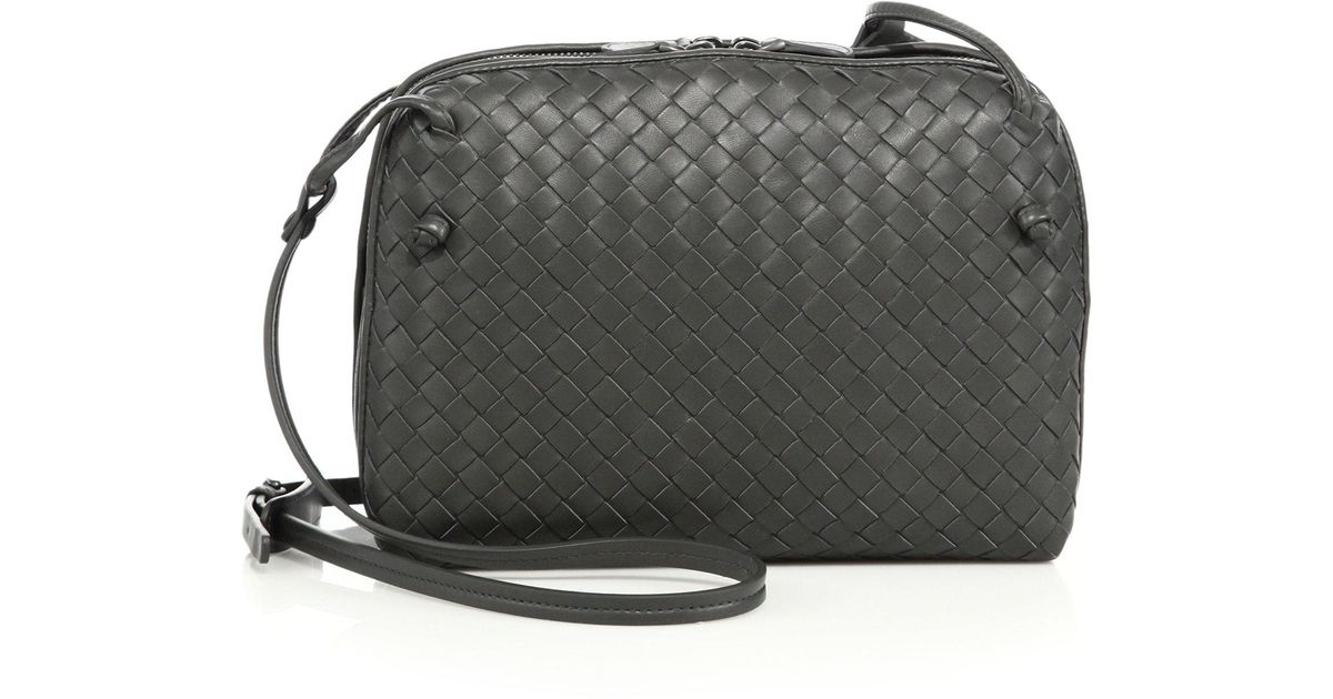 f084aa87cc7b Bottega Veneta Intrecciato Leather Double-zip Pillow Bag in Black - Lyst